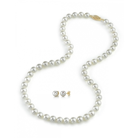 14K Gold 6.0-6.5mm White Akoya Cultured Pearl Necklace & Matching Earrings Set, 18