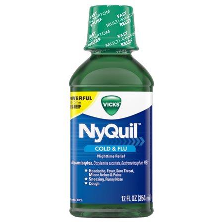 Vicks NyQuil, Nighttime Cold & Flu Symptom Relief, Relives Aches, Fever, Sore Throat, Sneezing, Runny Nose, Cough, 12 Fl Oz, Original