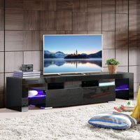 OUTAD White TV Stand with LED Lights, 63 Inch TV Console Cabinet with Storage 2 Drawers for Living Room Modern Furniture,Black