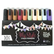 Chalk Markers by MyStyle - Huge 10 Pack Set - Rich Earth Tones. Great for Chalkboards, Glass and More! Water Based Liquid Wet Wipe Marker with 5.5mm Chisel Tip.