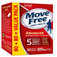 Move Free Advanced - Joint Health Supplement with Glucosamine and Chondroitin, 160 tablets, Easy to Swallow Tablets