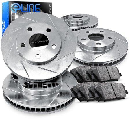 Vip Full Kit (1991 1992 Lincoln Mark VII Full Kit eLine Slotted Brake Rotors & Ceramic Pads )