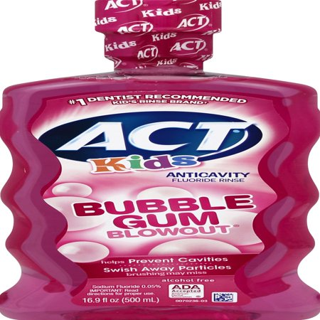 (2 pack) ACT Kids Bubble Gum Blowout Anticavity Fluoride Rinse, 16.9oz