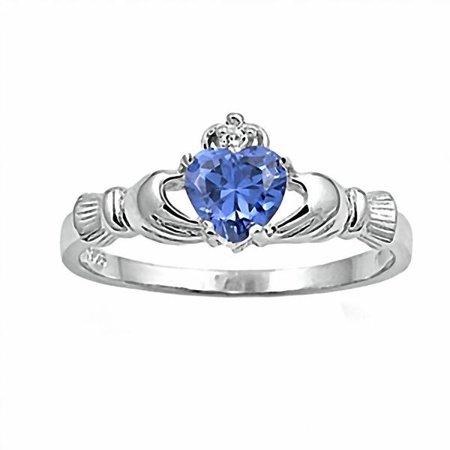 November Birthstone Claddagh Heart Ring (Innes: 0.765ct Heart cut Simulated Tanzanite Ice CZ Claddagh Ring Sterling Silver sz 8.0)