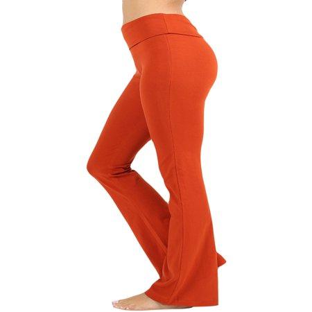 Womens & Plus Stretch Cotton Foldover Waist Bootleg Workout Yoga Pants