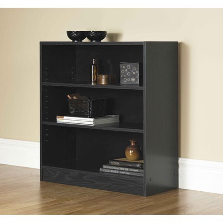 "Mainstays 32"" 3-Shelf Wide Bookcase, Black Oak"