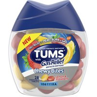 TUMS Chewy Bites Antacid with Gas Relief, Melon-Berry Hard Shell Chews for Heartburn + Gas Relief, 28 Antacid Chews