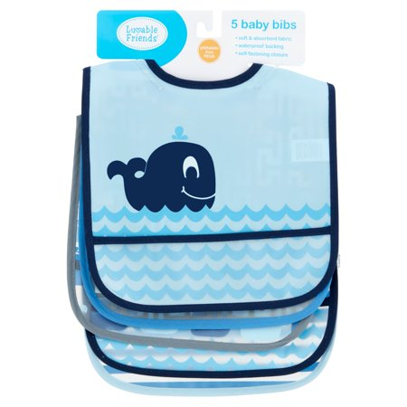 Luvable Friends Baby Boy and Girl PEVA Bib, 5-Pack - Whale
