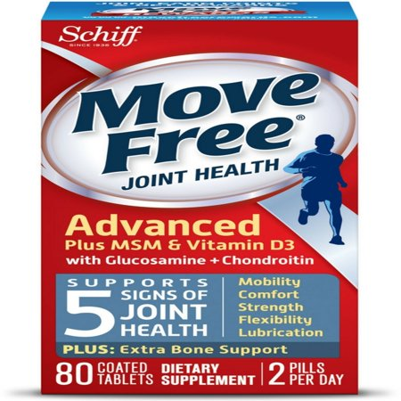 Move Free Advanced Plus MSM and Vitamin D3 Joint Health Supplement with Glucosamine and Chondroitin 80 (Power Plugs Free)