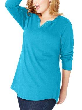 Plus-Size Women's Lightweight Split V-neck Tunic