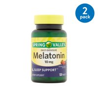 (2 Pack) Spring Valley Melatonin Fast Dissolve Tablets, 10 mg, 120 Ct