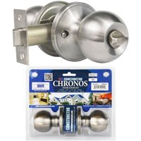 Constructor Chronos Privacy Door Knob Handle Lock Set for Hallway and Closet Stainless Steel Finish