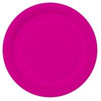 Neon Pink Paper Dinner Plates, 9in, 16ct
