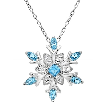 Amanda Rose Collection Sterling Silver Blue and White Snowflake Pendant Necklace with Swarovski Crystals - Snowflake Necklace Tiffany
