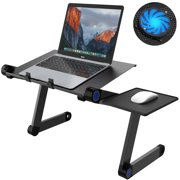 Laptop Desk Stand, SLYPNOS Portable Adjustable Folding Mobile Laptop Stand Desk with Cooling Fans, Detachable Mouse Lap Tray for Bed Sofa Small Spaces Home Office