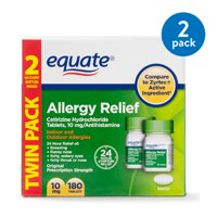 Equate Allergy Relief Cetirizine Tablets, 10 mg, 2 Pack (90 each)