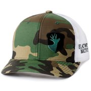 2cc63939fd5 Flatwood Natives Camo and White Side Acorn Embroidered Trucker Style Hat