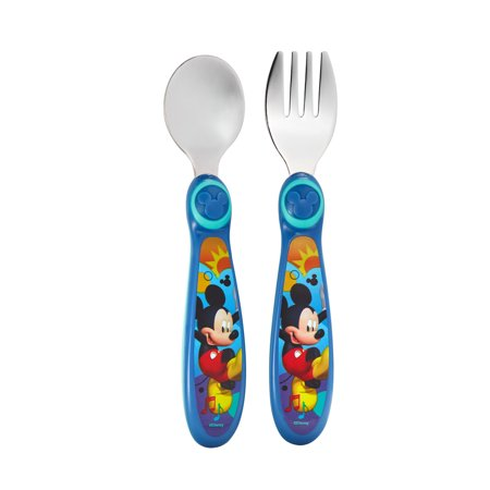 Disney Mickey Mouse Easy Grasp Fork & Spoon, Toddler Flatware, 9m+](Mickey Mouse Plate Set)