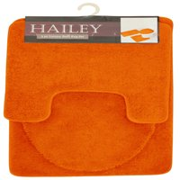 Hailey 3 Piece Bathroom Rug Set, Bath Mat, Contour Rug, Toilet Seat Lid Cover [Orange]