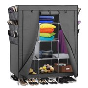 Portable Storage Organizer Wardrobe Closet & Shoe Rack- Includes 13 Shelves 9 Side Pockets