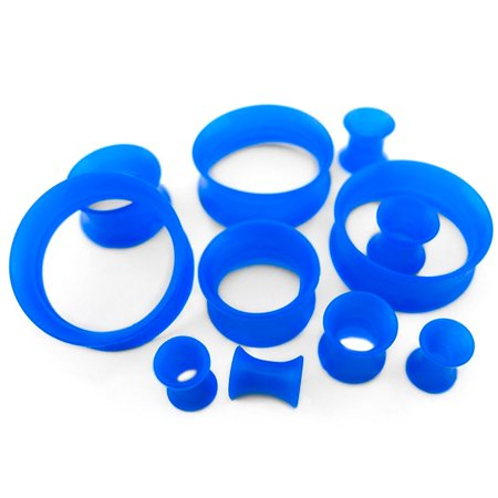 """9/16"""" (14mm) Blue Silicone Flexible Thin Ear Skin Tunnels Plugs / Ear Gauges (2 pieces)"""
