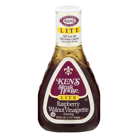(3 Pack) Ken's Steak House Raspberry Walnut Vinaigrette Dressing Lite 16 Oz Plastic Bottle