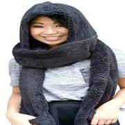 AM Landen Ladies Wool Velvet Soft All In One Soft Hood Hats Scarf Gloves(Black)