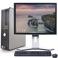 "Dell Optiplex Desktop Computer Bundle Windows 10 Intel Processor 4GB RAM 160GB HD DVD Wifi with a 17"" LCD Keyboard and Mouse-Refurbished"