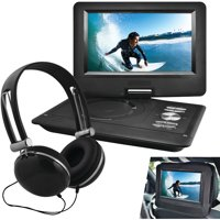 """Ematic EPD116BL 10"""" Portable DVD Player with Headphones and Car-Headrest Mount - Black"""
