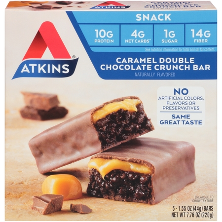 Atkins Caramel Double Chocolate Crunch Bar, 1.55oz, 5-pack (Snack (Lounger Chocolate)