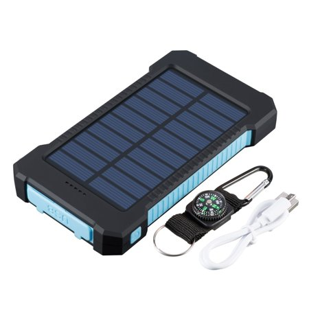 - Waterproof 600000mAh Dual USB Portable Solar Charger Solar Power Bank For Phone(Blue)