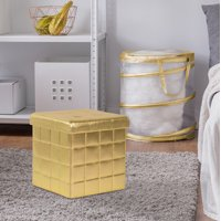 Mainstays Collapsible Storage Ottoman, Gold Dazzle