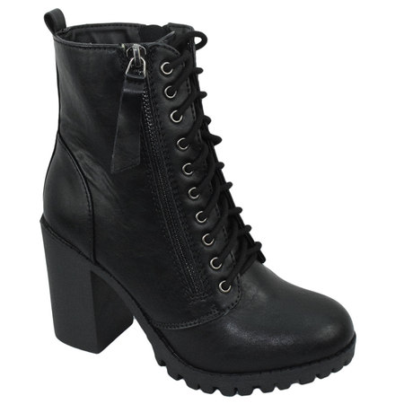 Malia Black Soda Riding Booties Women Chunky High Heel Combat Ankle Boots Army Military