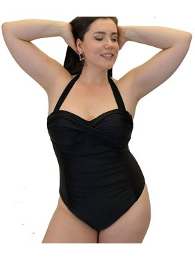 Yacht & Smith Plus Size Womens Swimsuit, Fashion One Piece Bathing Suit Tank (Solid Black, 1X)