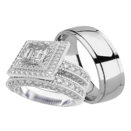 Him Ring Set - His and Hers Wedding Ring Set Matching Trio Wedding Bands for Him (Titanium) and Her (Sterling Silver)  (6/13)
