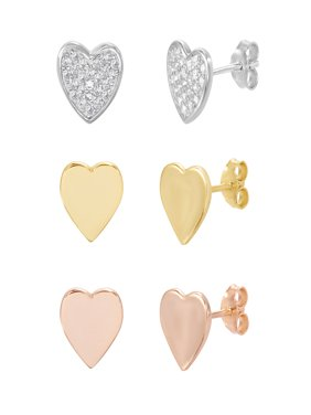 Lesa Michele Cubic Zirconia Pave Heart Trio Post Earring Set in Sterling Silver