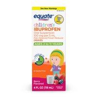 Equate Children's Ibuprofen Berry Suspension, 100 mg, 4 Fl Oz