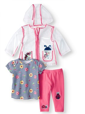Windbreaker Jacket, T-shirt & Leggings, 3pc Outfit Set (Baby Girls)