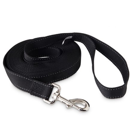 Vibrant Life Training Leash and Tie-Out For Dogs, Black, Large, (Cotton Training Leash)