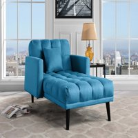 Modern Linen Upholstered Recliner Sleeper Chaise, Sky Blue