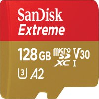 SanDisk 128GB Extreme microSDXC UHS-I Memory Card with Adapter - 160MB/s, U3, V30, 4K UHD, A2, Micro SD Card - SDSQXA1-128G-GN6MA