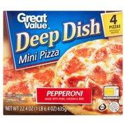 Great Value Pepperoni Pizza, Deep Dish, Mini, 22.4 oz, 4 Count