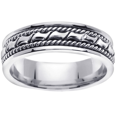 Platinum Coil Braid Handmade Comfort Fit Women's Wedding Band