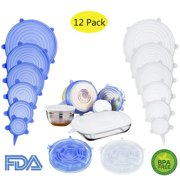 12 PCS Kitchen Silicone Stretch Lids Reusable, Coolmade Green + Pink Airtight Food Storage Covers, Various Sizes Seal Bowl Stretchy Wrap Cover for Containers, Cups, Plates, Microwave(white + blue)