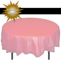 """Exquisite 84"""" Round Tablecloth Cover - White Disposable Plastic Tablecloth - Heavy Duty Premium Plastic Disposable Table Cloth Round, 1ct"""