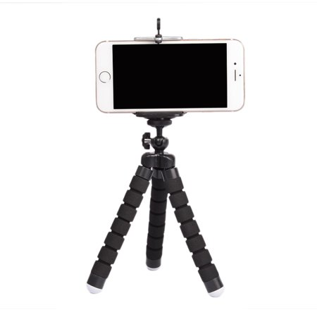 Flexible Portable Adjustable Tripod Mini Universal Octopus Leg Style Bluetooth Selfie Stick Black with bluetooth remote control ()