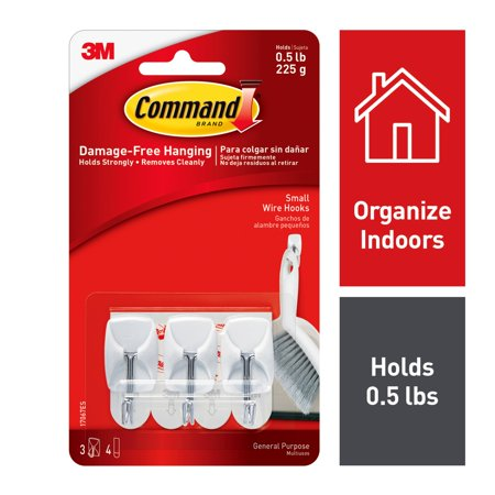 Command Wire Hooks, White, Small, 3 Hooks, 4 Strips/Pack ()