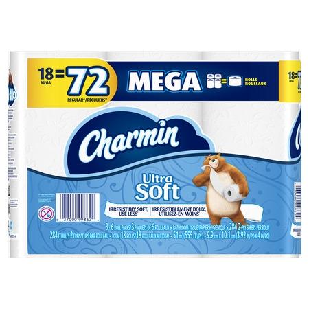 Charm In Basic Bathroom (Charmin Ultra Soft Toilet Paper 18 Mega Roll, 284 sheets per)