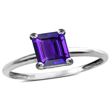 - Star K Classic Octagon Emerald Cut 8x6mm Genuine Amethyst Solitaire Engagement Promise Ring
