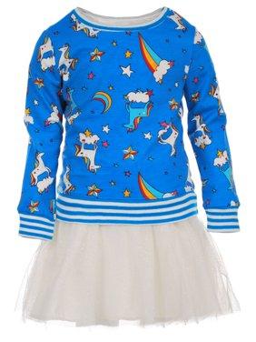 KidTopia Jersey Mesh Dress and Sweatshirt Mix and Match, 2-Piece Set (Little Girls)
